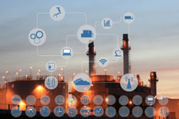 68384387 - industry 4.0 concept image.oil refinery at twilight with cyber and physical system icons diagram on industrial factory and infrastructure background.